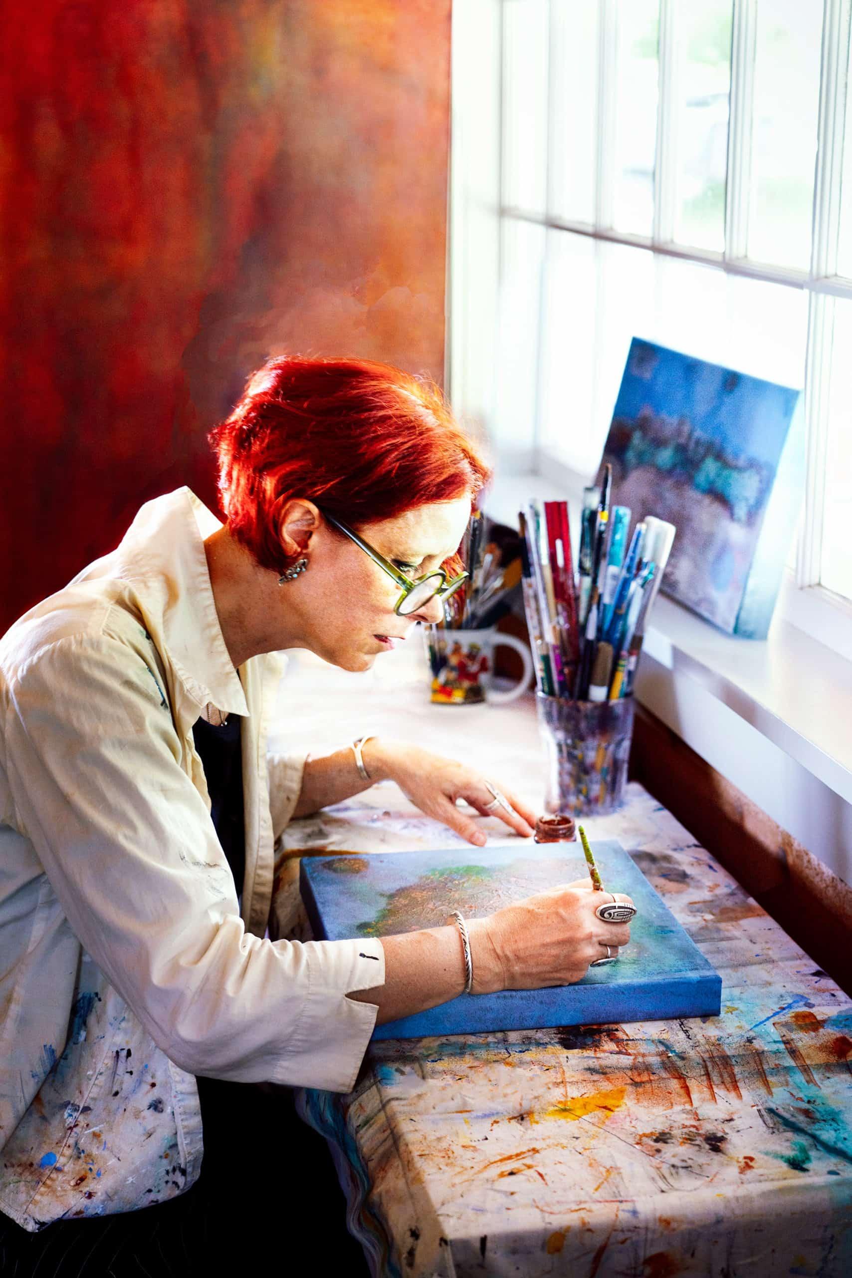 Katrin Waite Painting in Studio